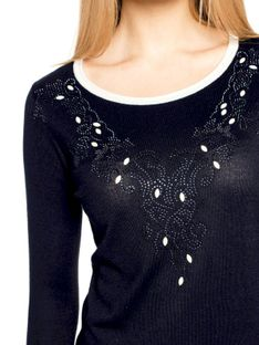 Dzianinowy sweterek z dżetami L`AF CLARISA