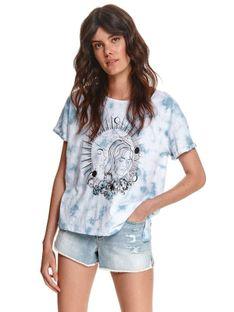T-shirt damski tie dye z nadrukiem