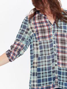 Koszula damska z szyfonowej tkaniny w kratę
