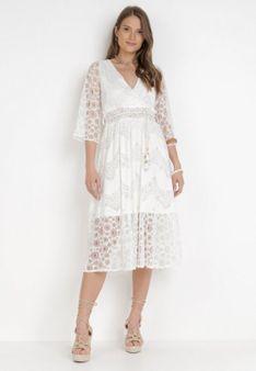 Biała Sukienka Z Paskiem Abapheu