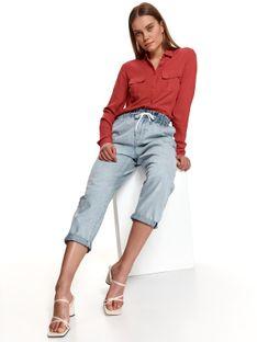 Gładka koszula damska z kieszonką