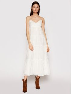 Pepe Jeans Sukienka letnia Anae PL952819 Biały Relaxed Fit