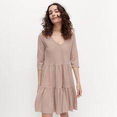 Reserved - Sukienka z falbanami - Beżowy
