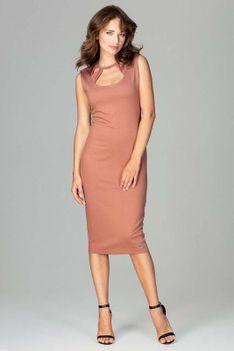 Brązowa Klasyczna Ołówkowa Sukienka Midi z Ozdobnym Dekoltem