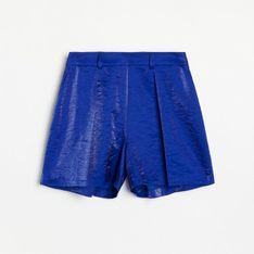 Reserved - Szorty z błyszczącej tkaniny - Niebieski