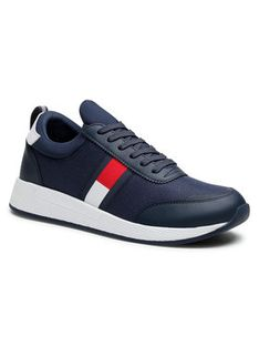 Tommy Jeans Sneakersy Flexi Lycra Tommy Jeans Runner EM0EM00632 Granatowy