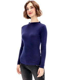 Dopasowany sweter w drobne prążki Premiera Dona LEA