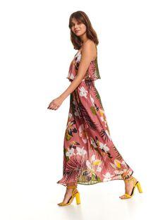 Długa sukienka damska z falbaną
