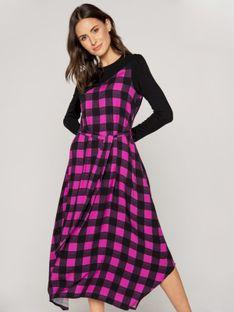 Asymetryczna sukienka maxi z łączonych tkanin w kratę Rabarbar