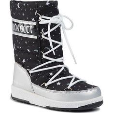 Buty zimowe dziecięce czarne Moon Boot śniegowce sznurowane
