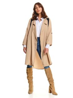 Płaszcz damski z wiązaniem