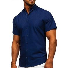 Koszula męska Denley gładka z krótkimi rękawami