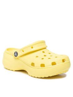 Crocs Klapki Classic Platform Clog W 206750-7HD Żółty