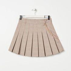 Sinsay - Plisowana spódnica mini w kratkę - Kremowy