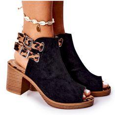 Zamszowe Sandały Na Słupku Lu Boo Czarne Leopard brązowe