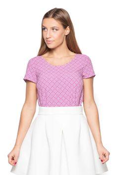 Różowa Bluzka z Geometrycznym Nadrukiem