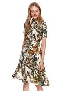 Koszulowa sukienka z roślinnym nadrukiem