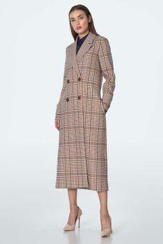Dwurzędowy Długi Płaszcz w Kratę - Beżowy
