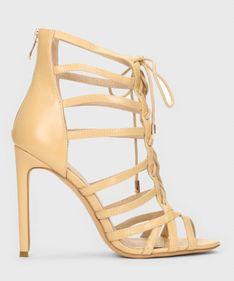 Beżowe skórzane sandały damskie