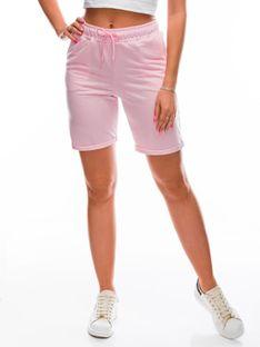 Krótkie spodenki damskie dresowe 011WLR - różowe
