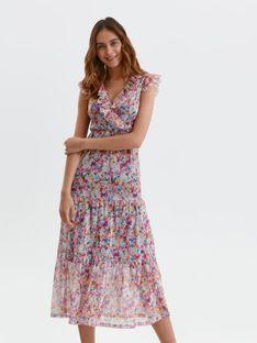 Sukienka maxi w kwiaty z falbanami