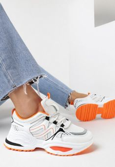 Biało-Pomarańczowe Sneakersy Elrinvia