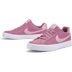 Buty sportowe damskie różowe Nike wiązane wiosenne płaskie skórzane bez wzorów