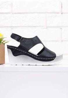 Sandały czarne na koturnie 1 Munoz