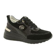 Evento Skóra Damskie Sneakersy Na Koturnie 21PB08-3954 Czarne Laides złoty