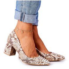 Skórzane Czółenka Z Wężowym Wzorem Lewski Shoes 2801 Złote złoty