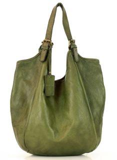 MARCO MAZZINI Zielona  Torebka Skórzana Damska Handmade Shopping Bag