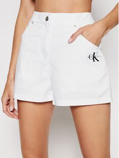 Calvin Klein Jeans Szorty materiałowe J20J215562 Biały Regular Fit