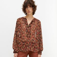 Reserved - Wzorzysta bluzka z półprzezroczystej tkaniny - Wielobarwny