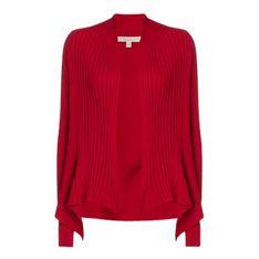 Sweter damski czerwony Esprit z dekoltem w serek casual