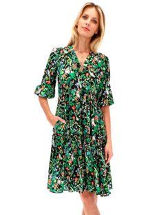 Casualowa sukienka w kwiaty z marszczonymi falbanami Potis & Verso GYPSY