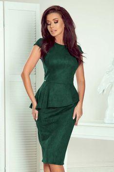 Elegancka Ołówkowa Sukienka Midi z Asymetryczną Baskinką - Zielona