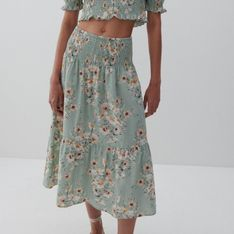 Reserved - Bawełniana spódnica midi - Wielobarwny