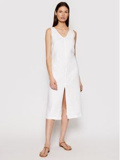 Seafolly Sukienka letnia Essential Linen 54361-DR Biały Relaxed Fit