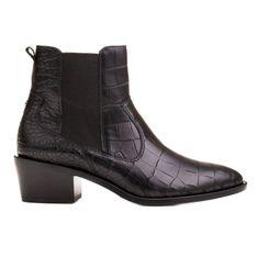 Marco Shoes Botki damskie sztyblety w stylu kowbojka z motywem wężowym czarne