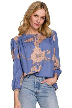 Wiskozowa Bluzka w Kwiaty z Bufiastym Rękawem - Model 1