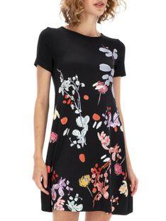 Dzianinowa czarna sukienka z roślinnym nadrukiem Desigual CICERO