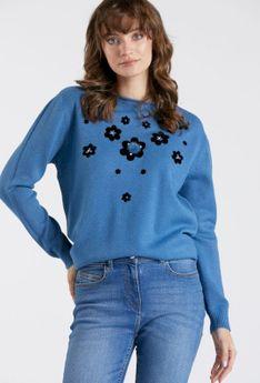 Sweter z naszytymi kwiatkami