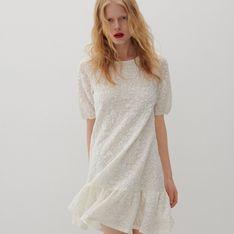 Reserved - Dzianinowa sukienka - Kremowy