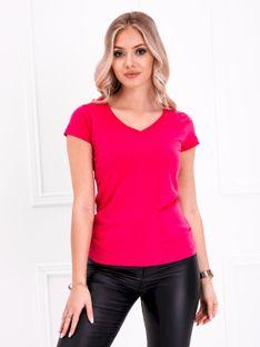 T-shirt damski basic 002SLR - różowy