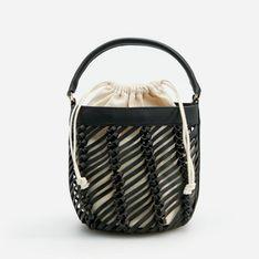 Reserved - Torebka koszyk z plecionym wzorem - Czarny