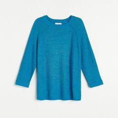 Reserved - Sweter z raglanowymi rękawami - Turkusowy