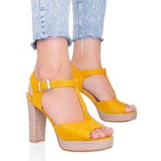 Musztardowe sandały na słupku Fily żółte