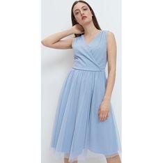 Sukienka niebieska Mohito mini z dekoltem w serek