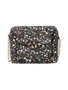 Czarna torebka w kwiaty Verde 16-0005230
