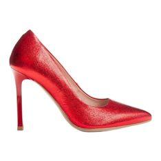 Marco Shoes Czerwone szpilki ze skóry naturalnej na wysokim obcasie